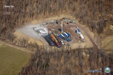 A natural gas drilling site in Dimock, Pennsylvania, located in the Catskill Mountains. In September 8,000 gallons of toxic fluids spilled from the Cabot Oil & Gas drilling site contaminating local ground water in Dimock. PHOTO: Catskills Mountainkeeper Sky Hawk and Photographer J. Henry Fair