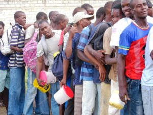 People in line for food distribution in Jacmel. Photo: Phuong Tran/IRIN