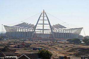 Thousands in South Africa have been removed from their homes in order to build stadiums, like this one in the city of Durban, for the 2010 World Cup Finals. PHOTO: http://www.flickr.com/photos/ethekwinigirl/3580509585/