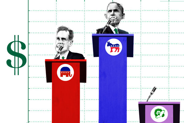 Campaigns for the Republican and Democratic parties have received millions in campaign contributions; other political parties don's have access to that kind of money. ILLUSTRATION: David Hollenbach