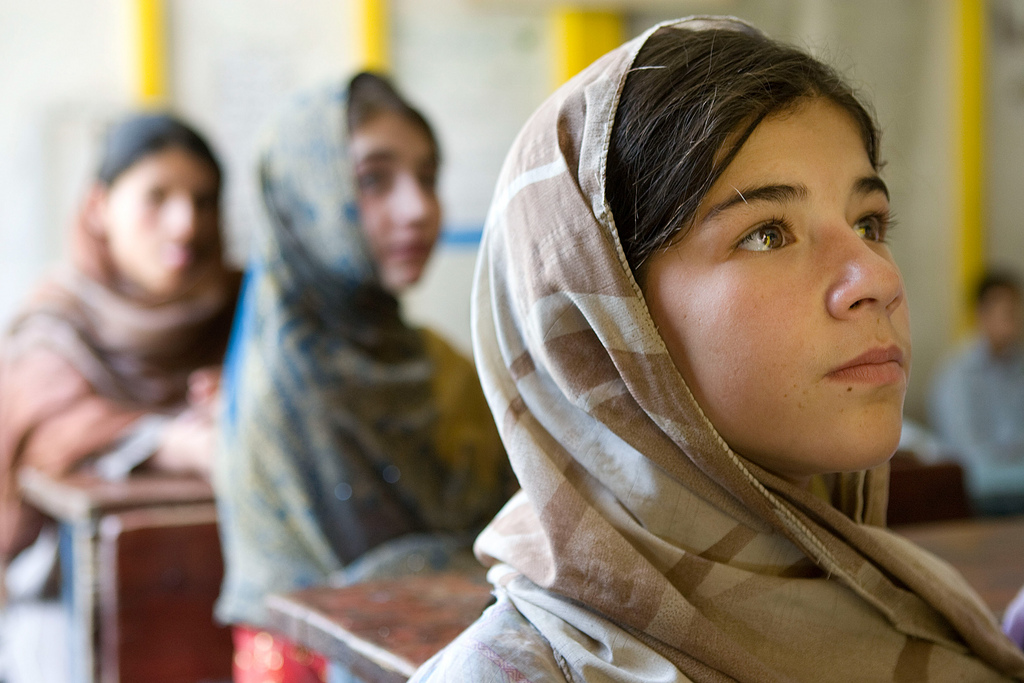 Girls learning in their classroom in Afghanistan. PHOTO: Asian Development Bank