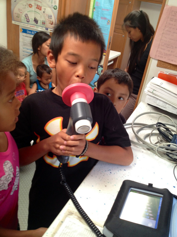 Children getting their breathing tested for asthma. PHOTO: Long Beach Public Library