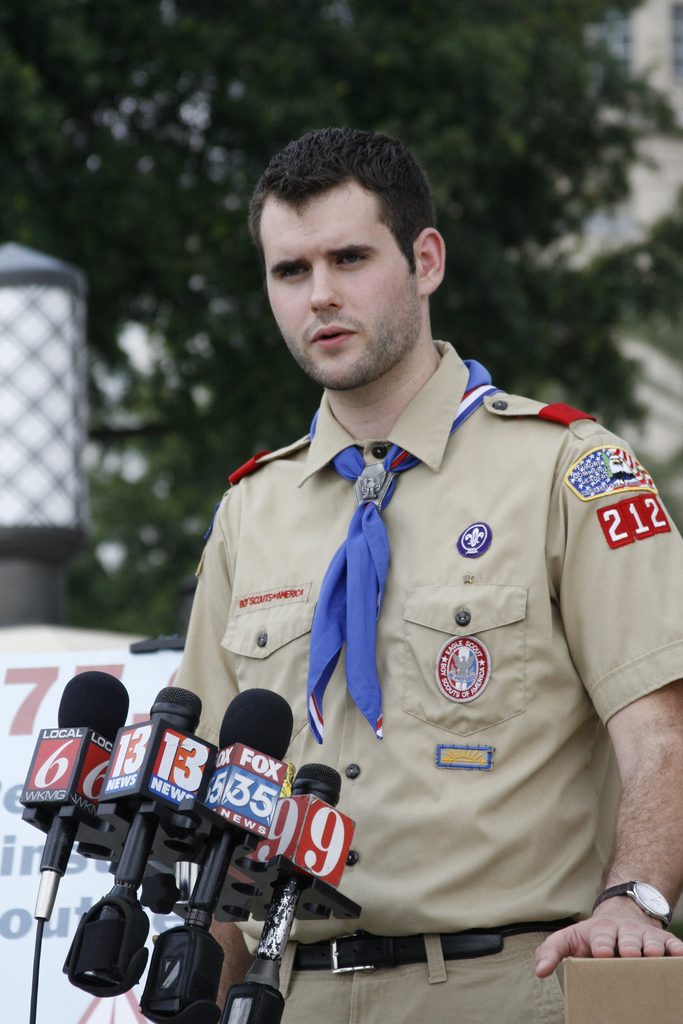 Zach Wahls, LGBTQ rights activist and founder of Scouts for Equality, delivers petitions to the Boy Scouts of America. PHOTO: Christine Irvine