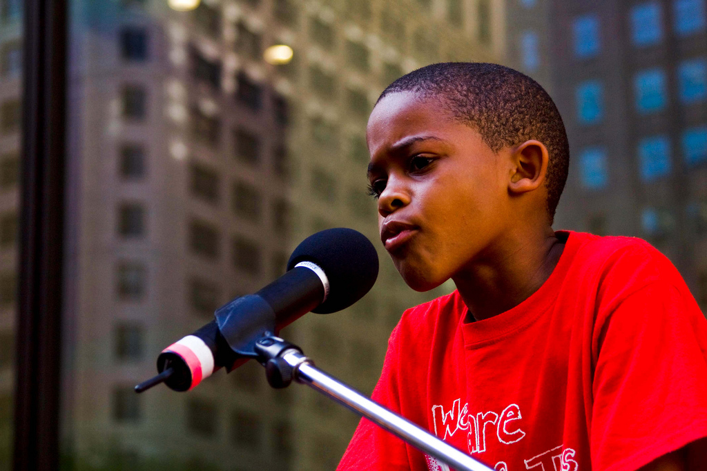 9-year-old activist and student, Asean Johnson, speaks at a Chicago Teachers Union rally against school closures. PHOTO: Charles Miller