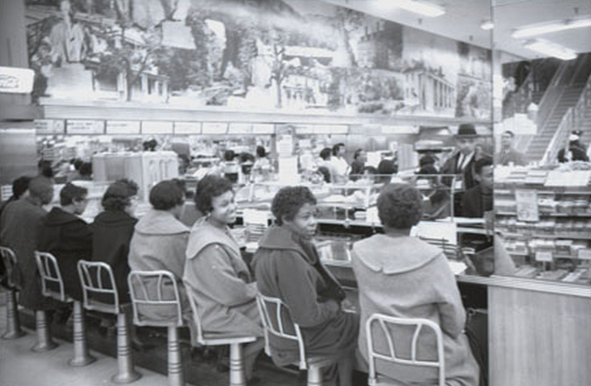 The Richmond 34, a group of university students participating in a sit-in at a lunch counter of a department store in Richmond, VA in 1960. They were arrested and charged with trespassing. PHOTO: Wikimedia Commons
