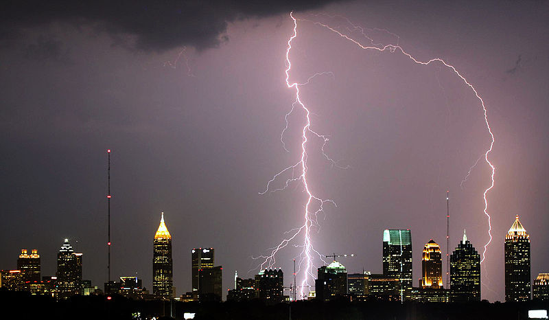 Lightning over Atlanta, GA. In 2013, 23 deaths by lightning were recorded in the United States. PHOTO: Wikimedia Commons