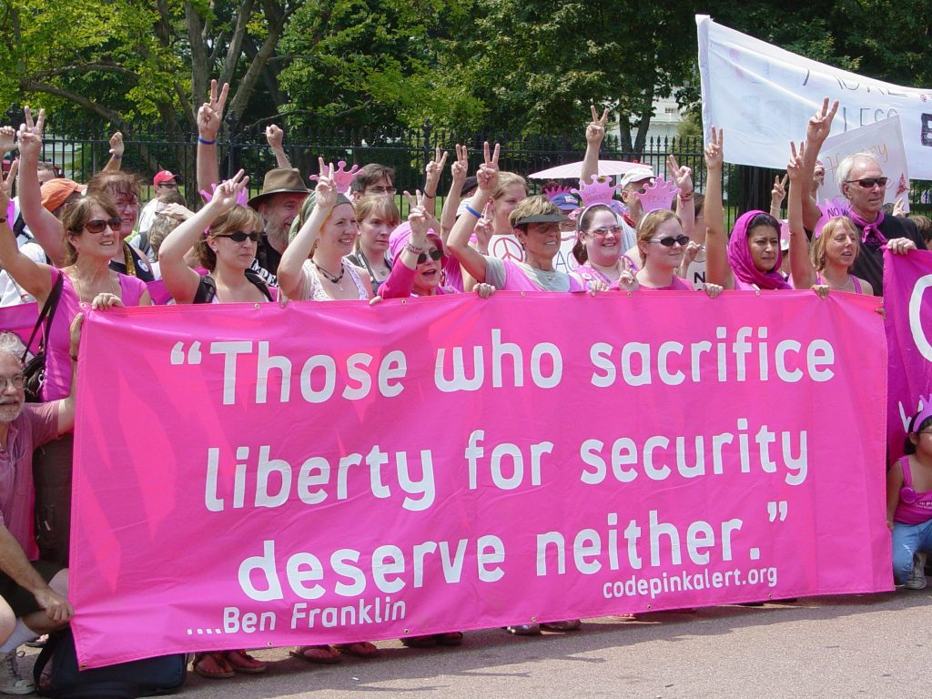 Code Pink is a women-led anti-war activist group that was founded shortly before the 2003 invasion of Iraq. PHOTO: Wikimedia Commons