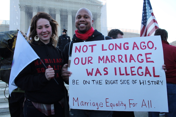 In June 2015, the Supreme Court ruled in favor of same-sex marriage. Supreme Court decisions often reflect the way our society changes over time. Until 1967, interracial marriage was illegal in many states. PHOTO: Elvert Barnes