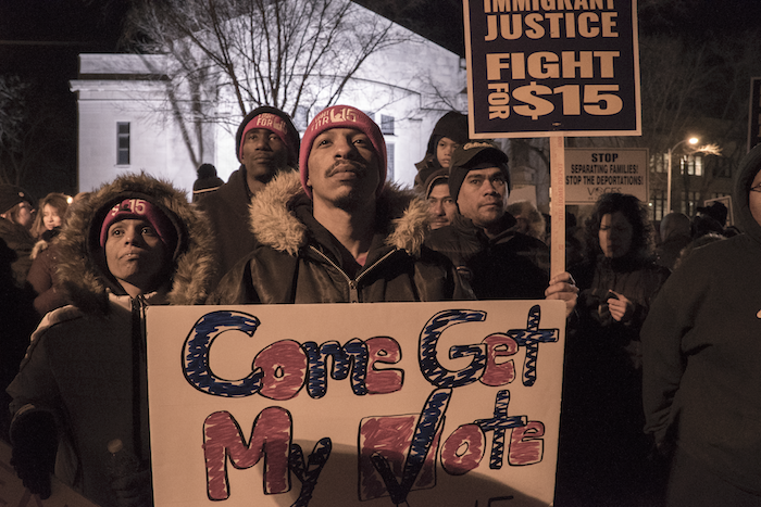 In November 2015, low-wage workers with the Fight for $15 campaign joined Black Lives Matter activists in the streets. Their hope has been to make their struggle a priority for the 2016 presidential candidates. PHOTO: Joe Brusky/Flickr