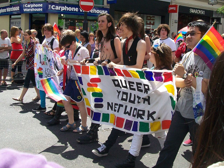 Queer Youth Network paraders at Pride London. A new study shows that youth today are more open minded about issues of gender and sexuality. PHOTO: AnemoneProjectors (Wikimedia Commons)
